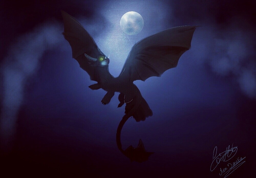 Night fury Dragon by moondaneka