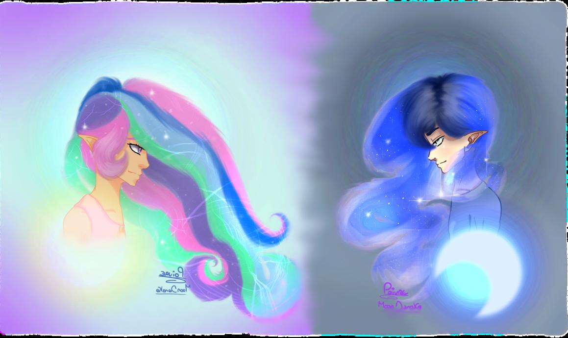 Princess Celestia and Luna (humanized) by moondaneka
