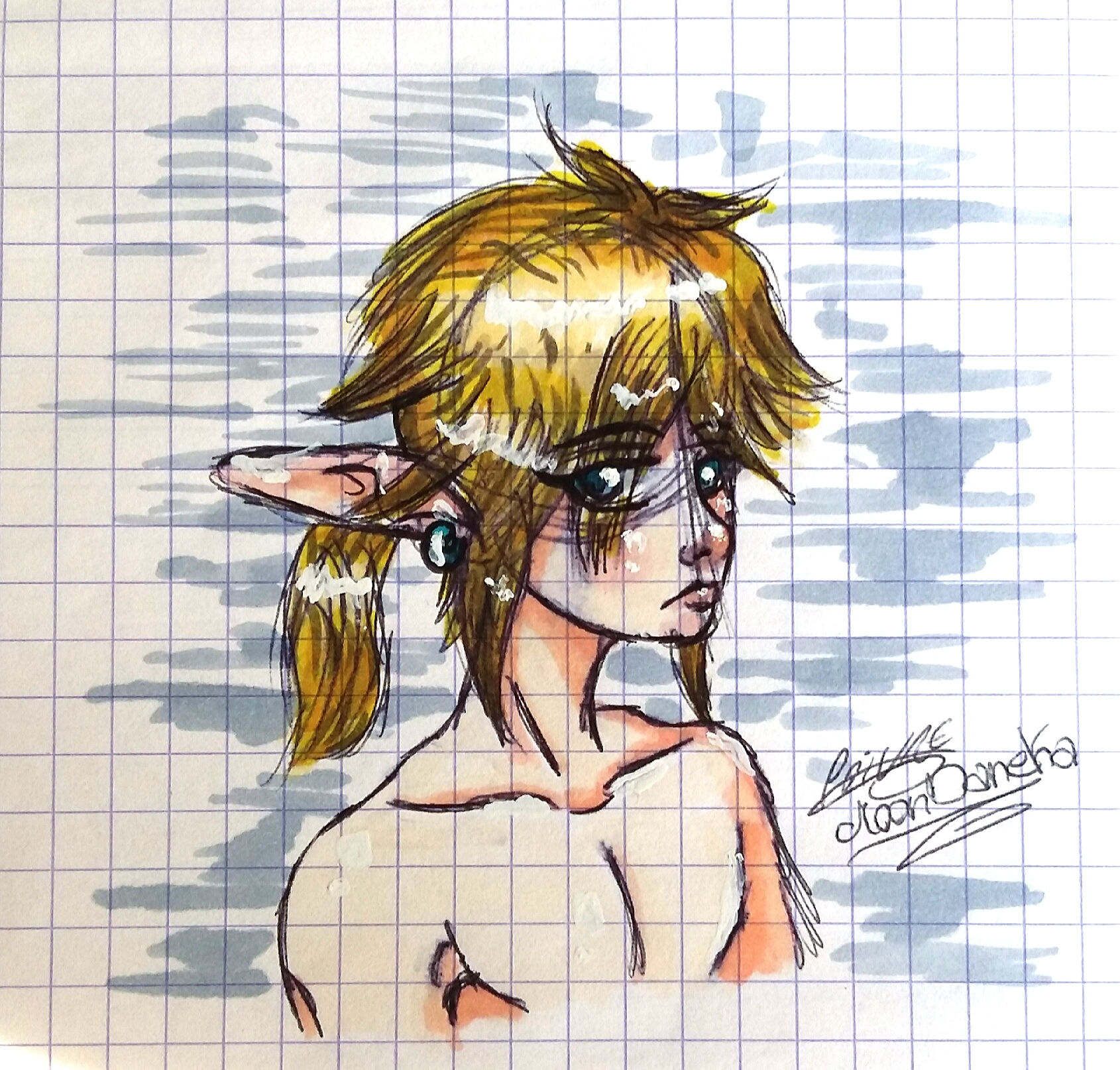 Link - Breath of the Wild (traditional art) by moondaneka