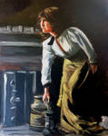 Painting Woman Lamp