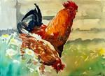 Watercolour Chickens