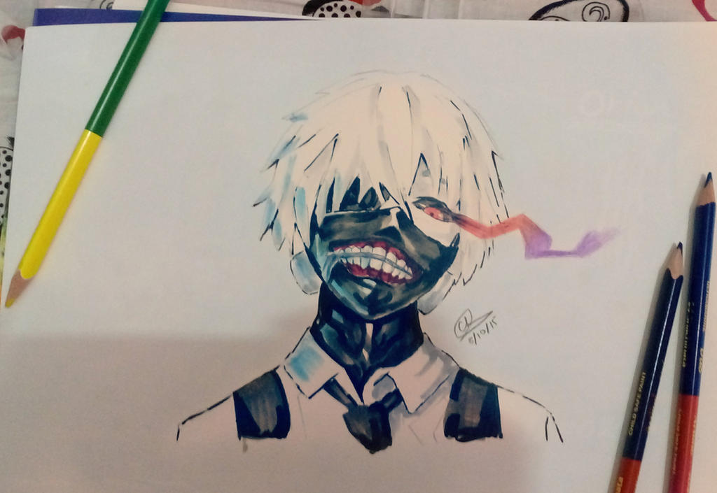 Colored pencils and copics kaneki ken by chedil