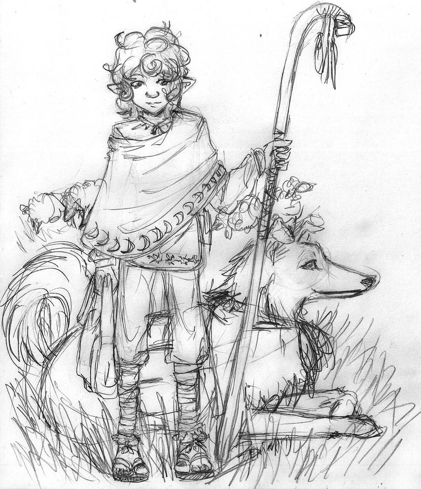 halfling shepherd with dog by SaulesZeme