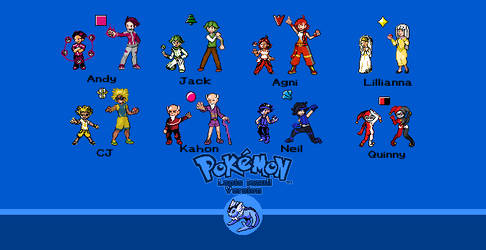 Pokemon LLV Gym leaders in both gbc and ds style