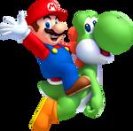 Mario and Green Yoshi Waving