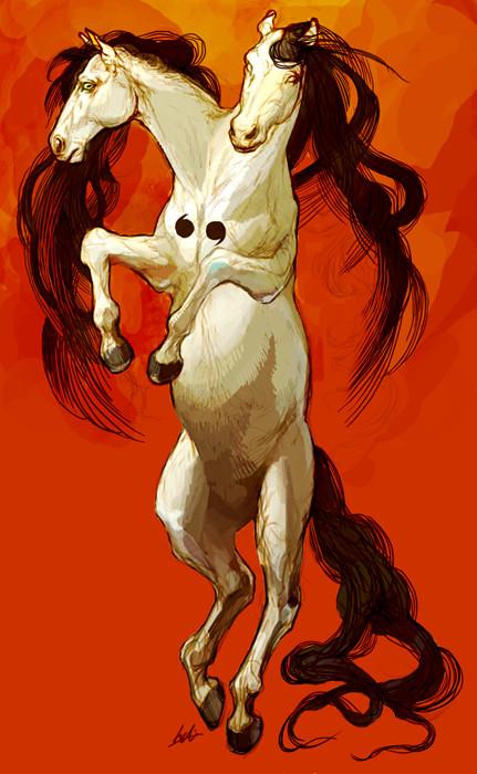double head horse by ononheli