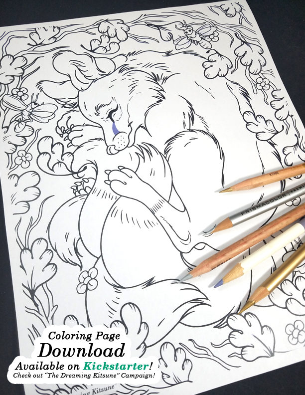 Dreaming Kitsune Coloring Page Preview2 by HeatherHitchman