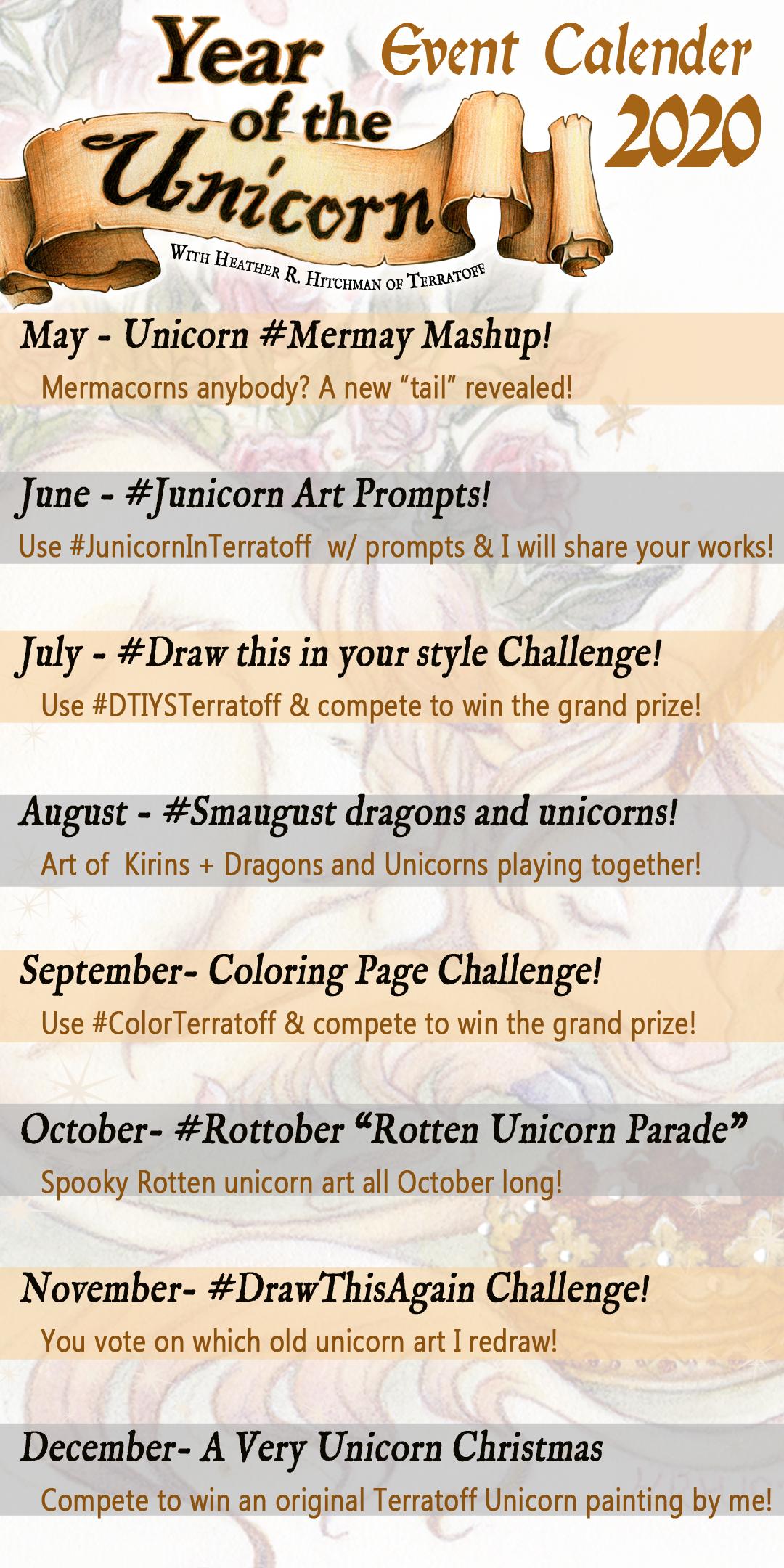 Year of the Unicorn Event Calendar 2020 with Heath
