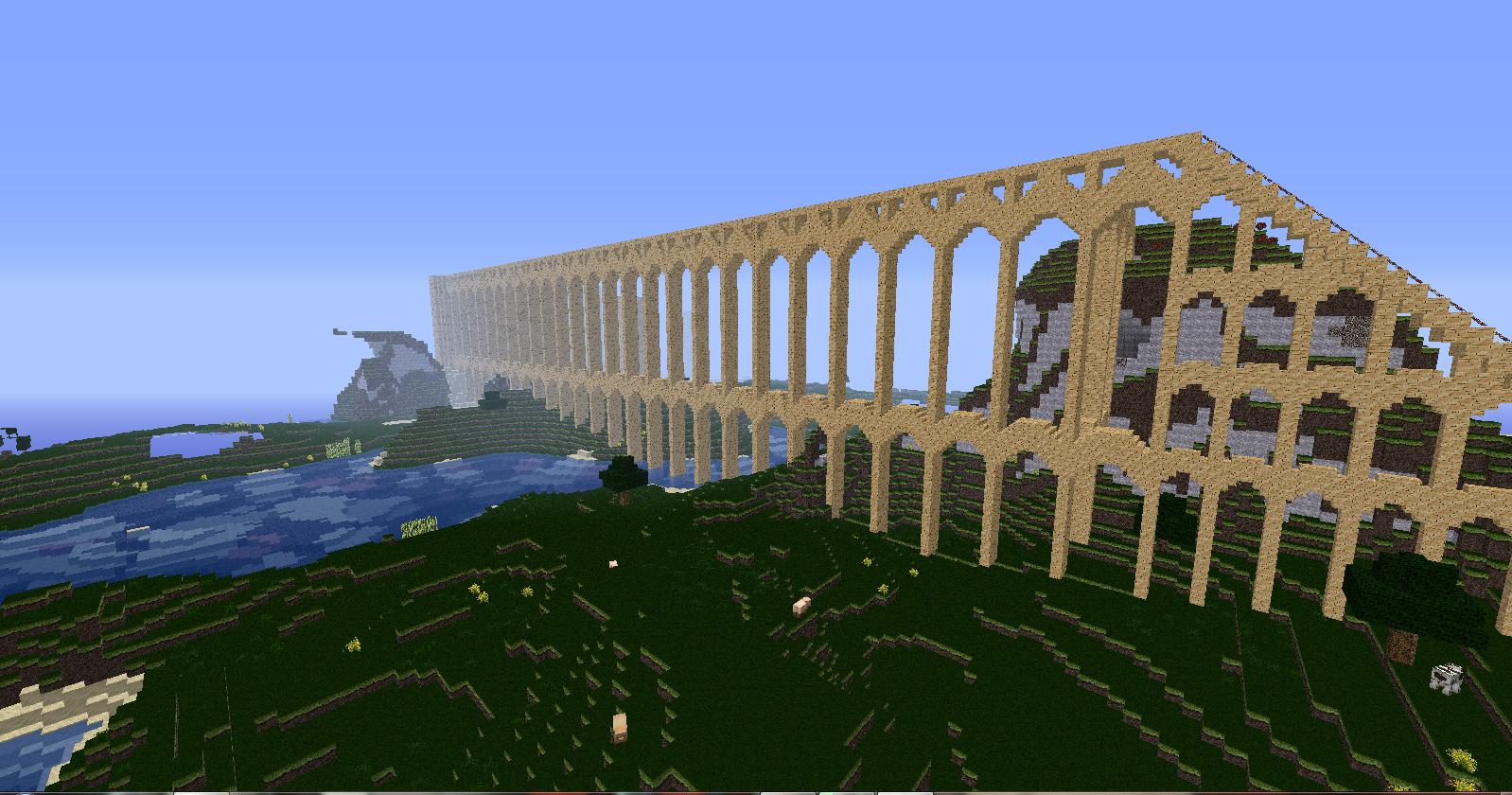 Minecraft aqueduct by Raiichiro