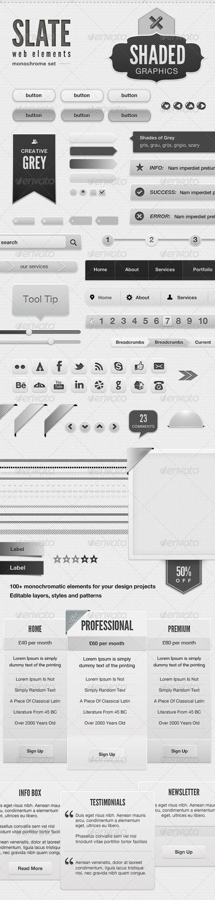 Slate - Shades Of Grey Web Elements by gojol23