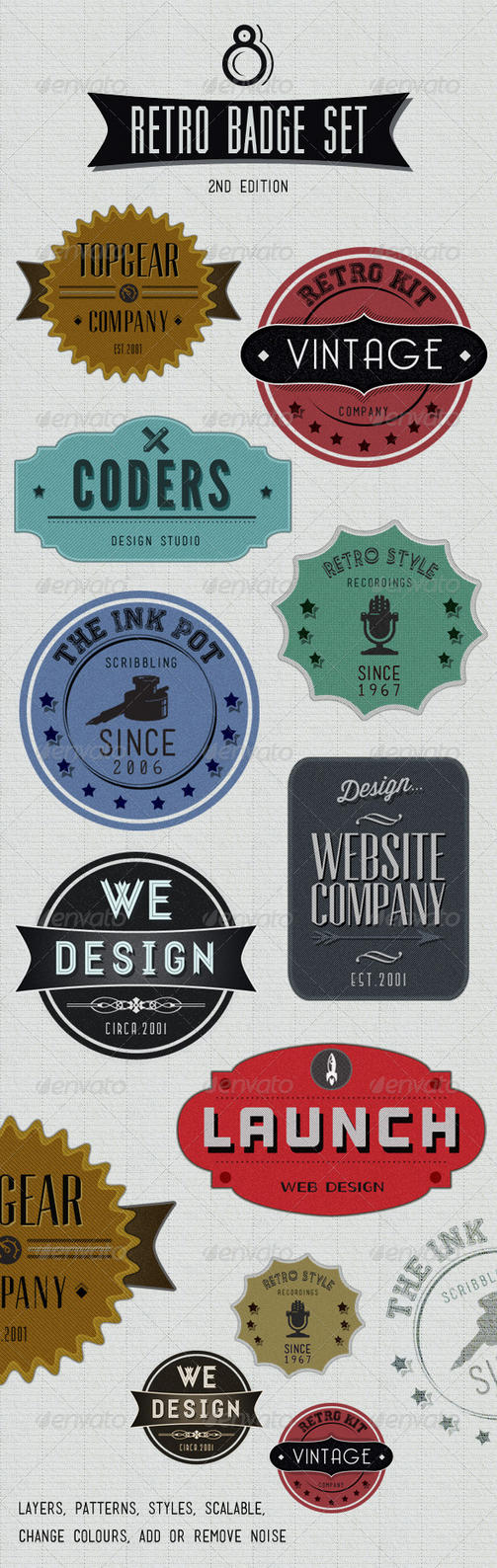 Retro Badges - Faded Vintage Labels by gojol23