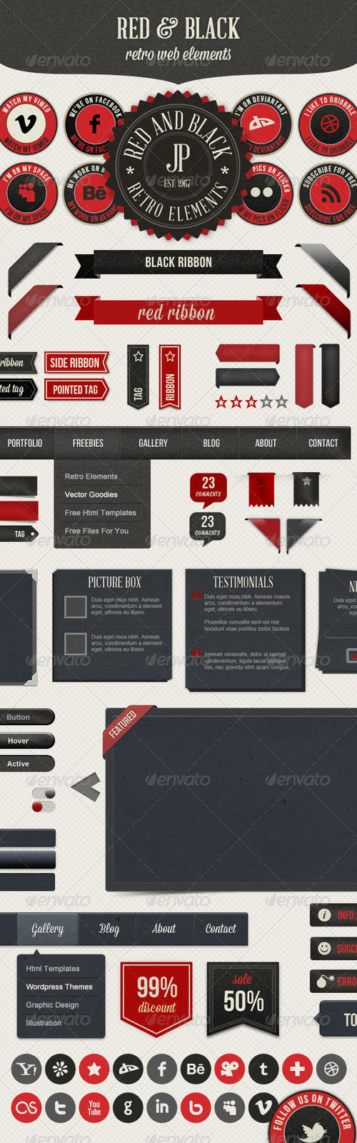 Retro Web Elements - Red and Black by gojol23