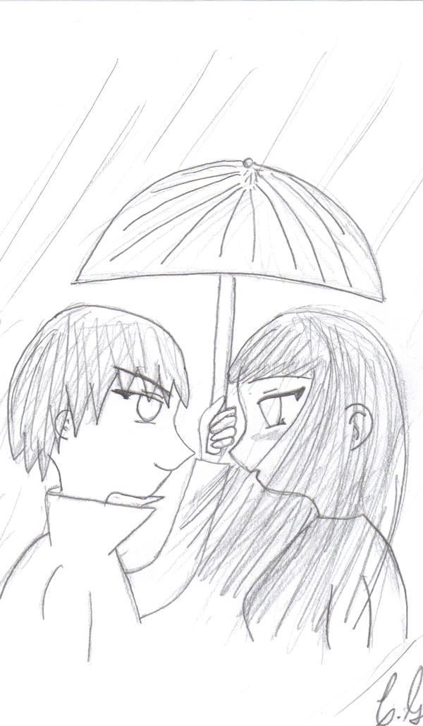 cute anime couple. Cute Anime Couple Drawing by