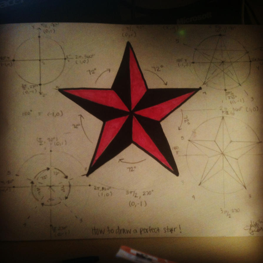 how to draw a perfect star compass