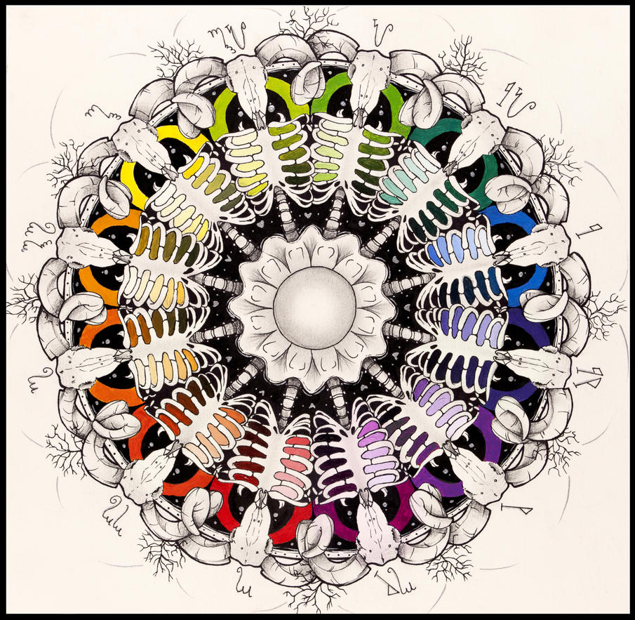 Ram Skull Mandala Color Wheel By Decora Chan