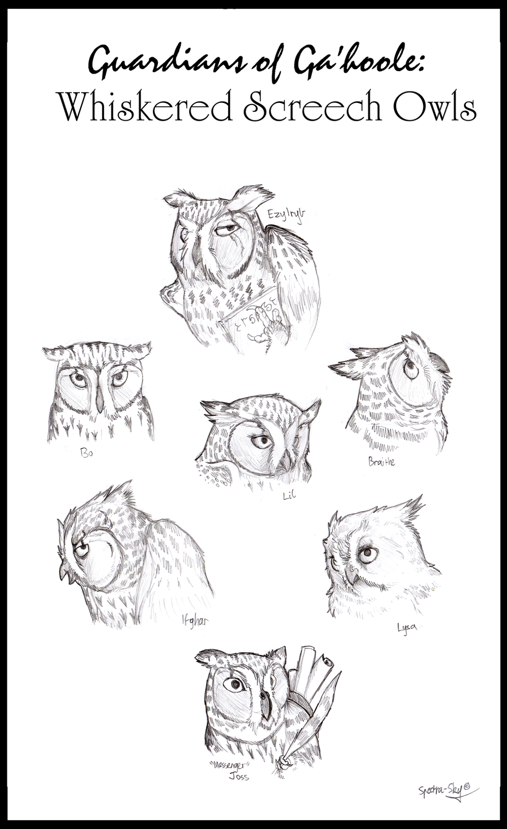 Whiskered Screech-Owls of Ga'hoole by Spectra-Sky