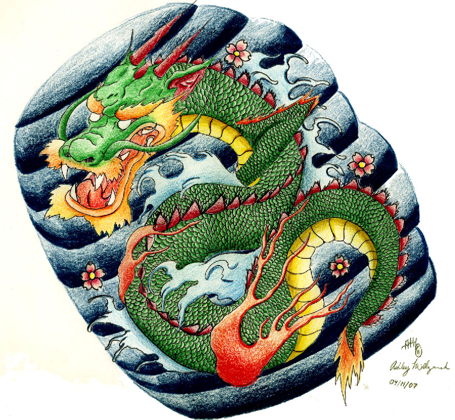 Japanese Tattoo Wallpaper: Japanese Dragon Tattoo Design By SketchbookFlavor On