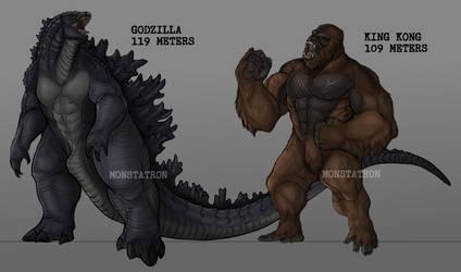 king kong and godzilla sizes (prediction) by austroraptorcabazai