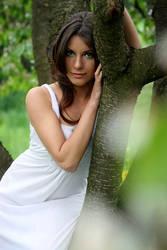 romantic hippie girl in trees by gestiefeltekatze