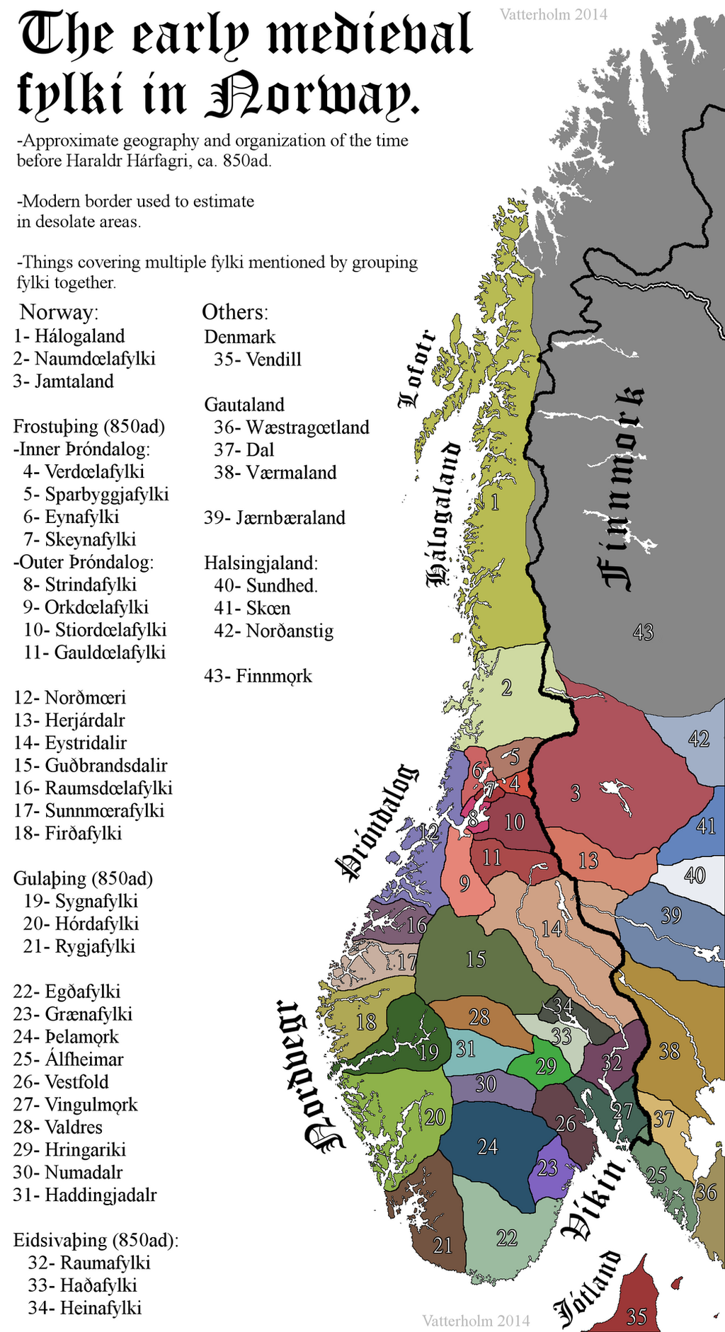 OC The Vikingage Fylki Petty Kingdoms In Norway Before The - Norway map vikings