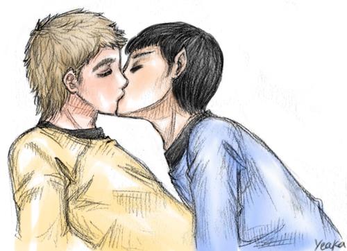 Kirk/Spock Sketch by yeaka
