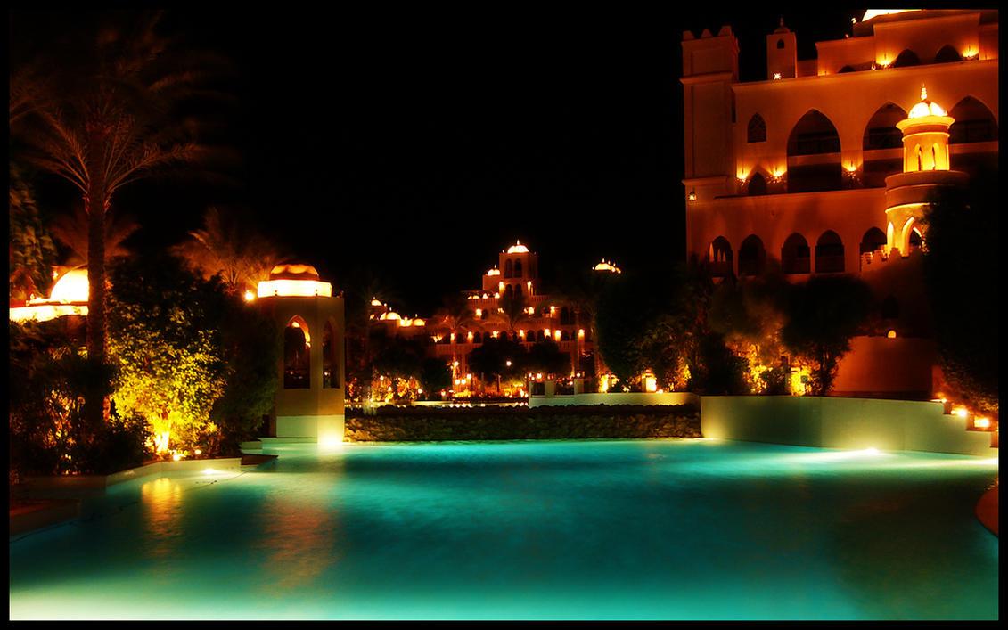 The Makadi Palace At Night by skywalkerdesign