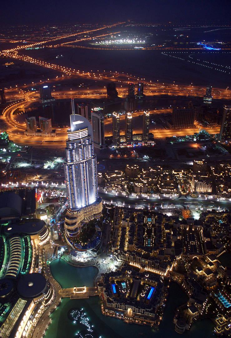 Dubai At Night (Burj Khalifa) by skywalkerdesign
