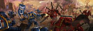 Warhammer 40k   Ultramarines vs Chaos Marines