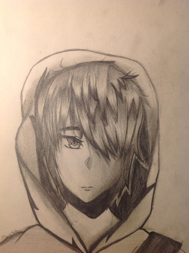 Badass Anime Guy With Hoodie By MashMalowArt