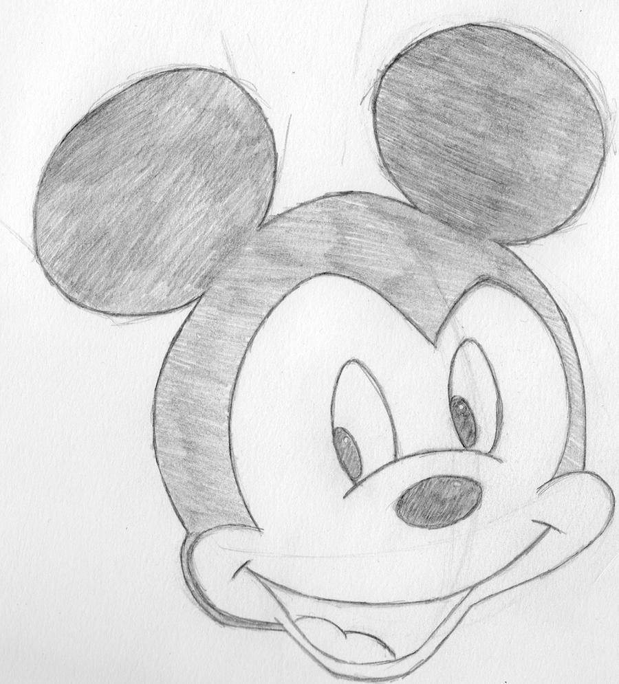 This is a graphic of Slobbery Mickey Mouse Pencil Drawing