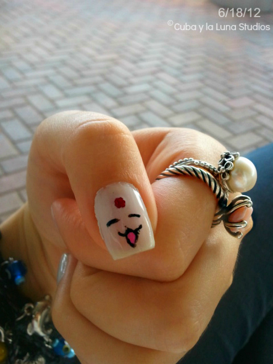 White Mokona Nails by CubaylaLuna