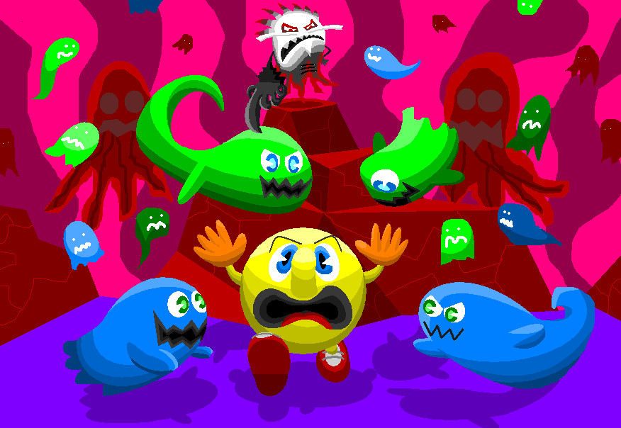 Pacman Deviantart 2019: Pac-Man Ventures Into The Netherworld By AshumBesher On