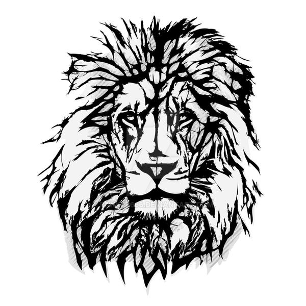 Lion vector illustration by ranker666 on deviantart for Black and white lion tattoo