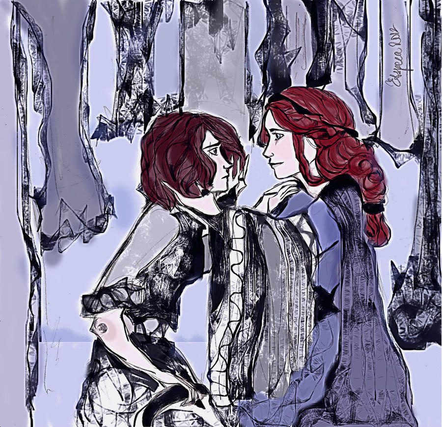 sister, where were you? Arya and Sansa by Etspera