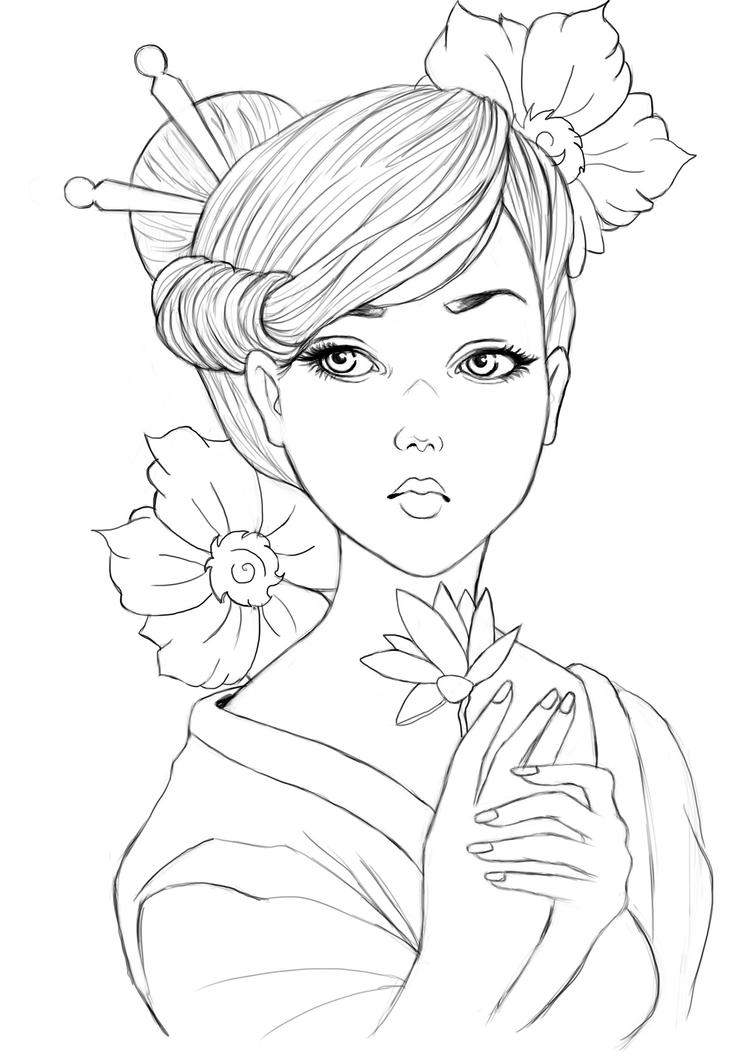 Geisha lineart by raffa3le on deviantart for Japanese art coloring pages