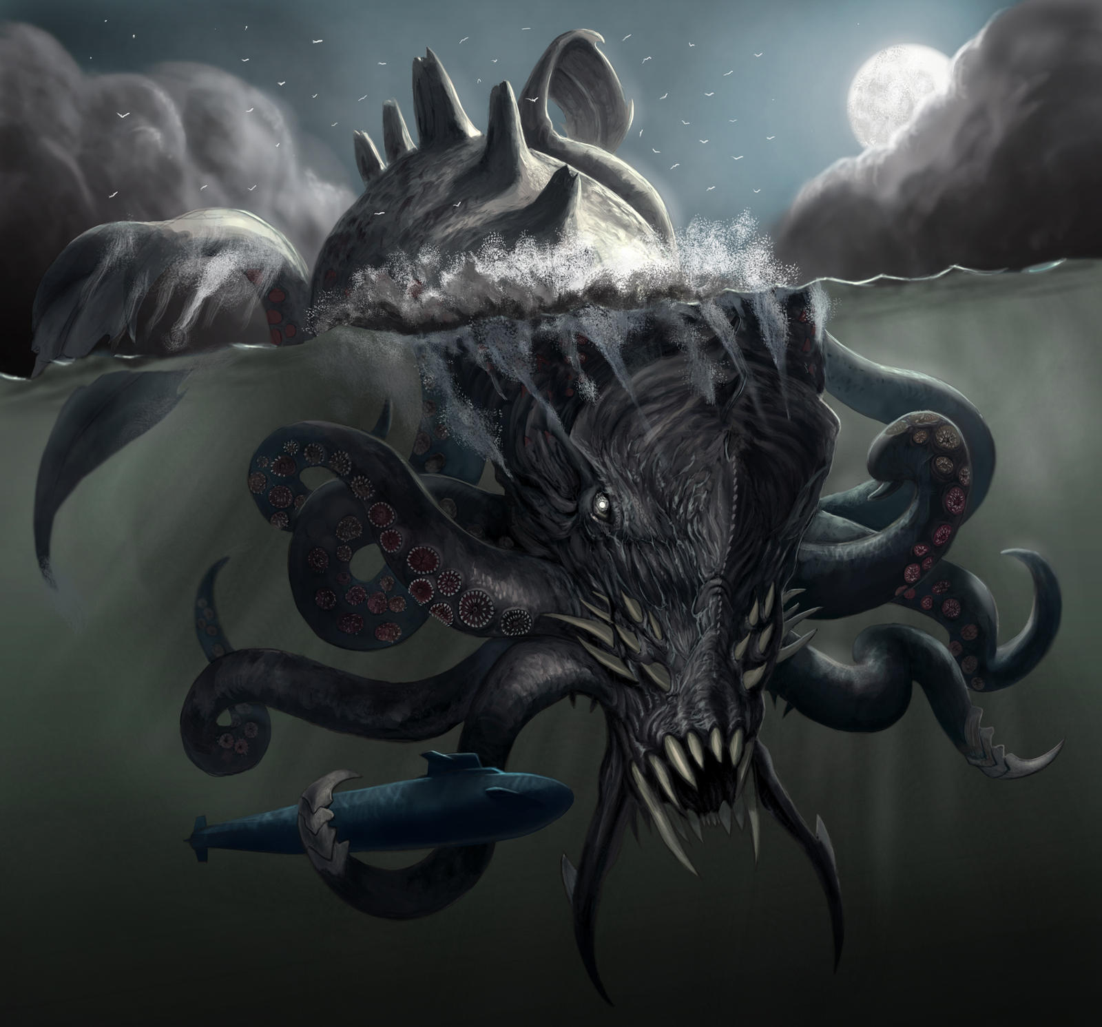 Ship Attacked By Squid Kraken Final By Davesrightmind Dhvi