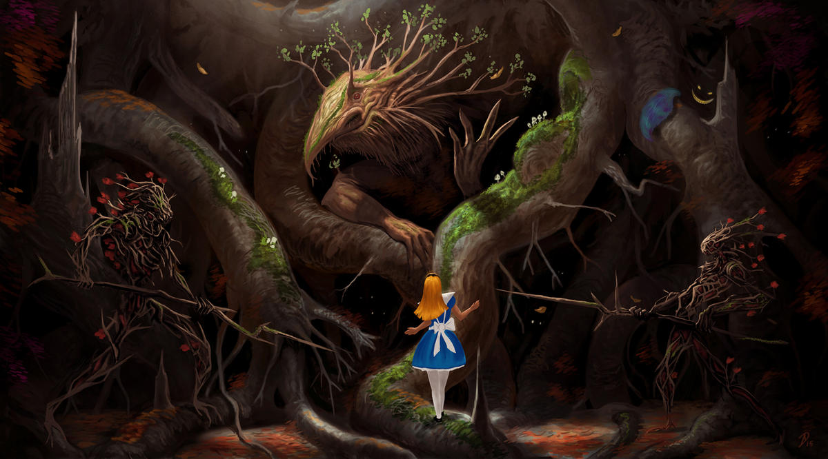 Alice-meets-the-King-of-the-Tulgey-Wood by Davesrightmind