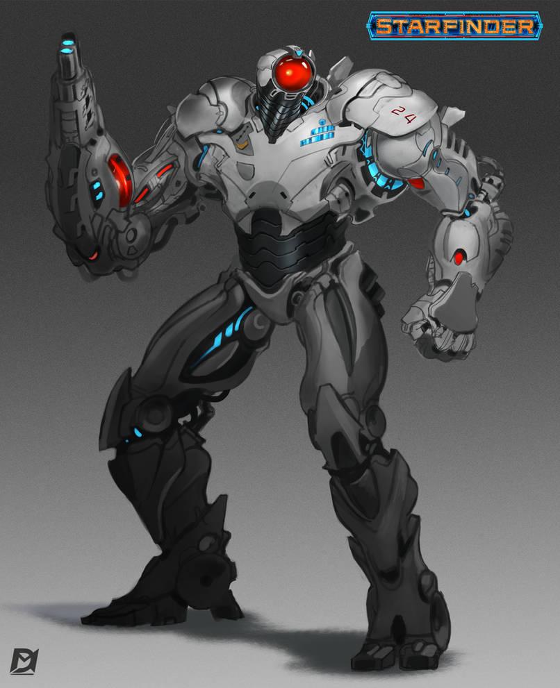 Starfinder Security-Robot by Davesrightmind