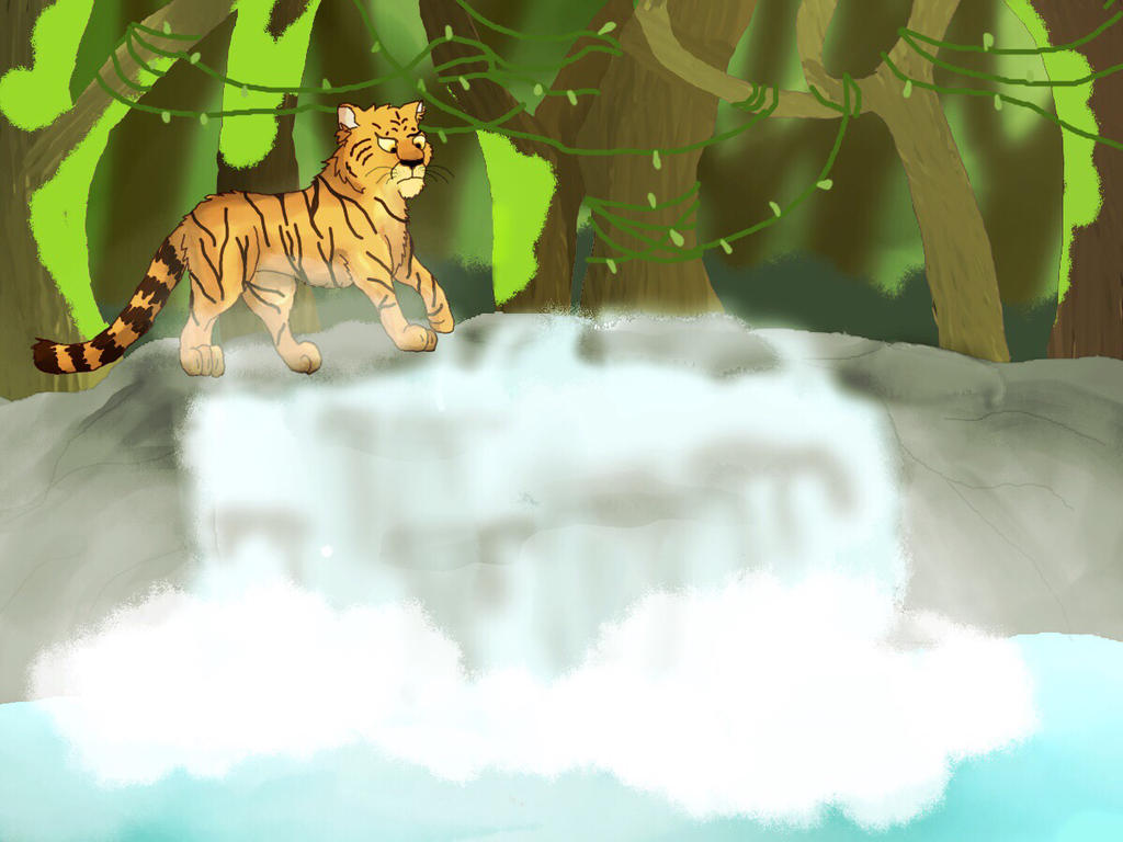 Waterfall in the jungle (fix) by paperwxlf