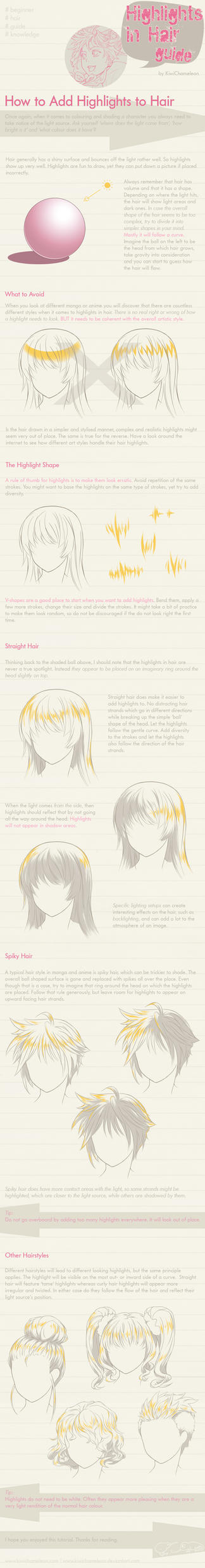 Highlights in Hair - guide by KiwiChameleon