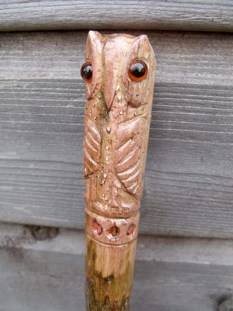 Carved owl walking stick by hoddy sticks on deviantart