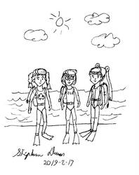 Chiharu, Naoko and Meiling ready for scuba diving by stephdumas