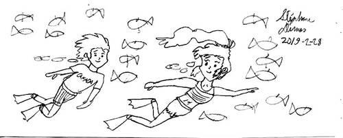 Hilbert and Hilda underwater romantic swim by stephdumas