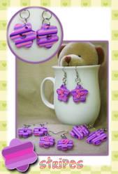 purple stripes earrings by jenyah