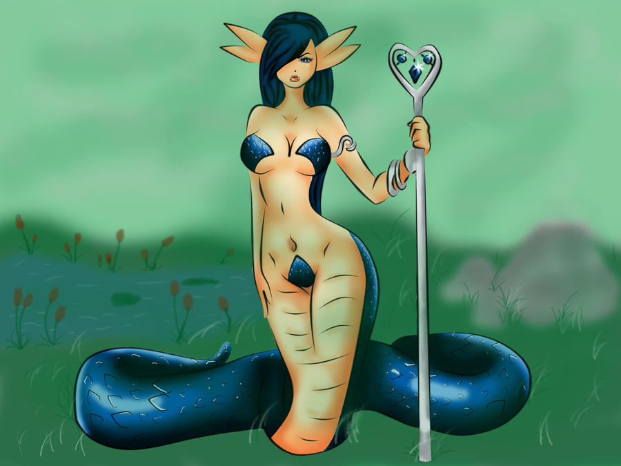 Naga Queen With Background by SexxiMomma