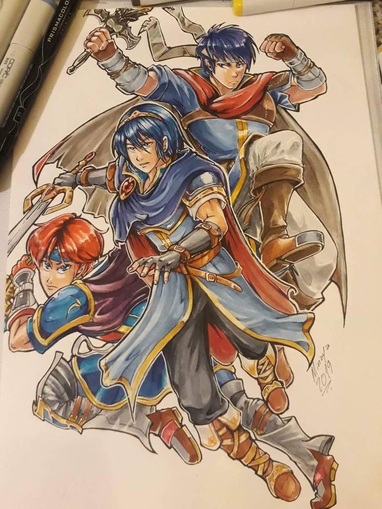 Marth, Roy and Ike by Minaya