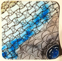 zentangle gem - blue web II by CeaSanddorn