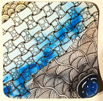 zentangle gem - blue web II by CeaSanddorn