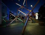 Graz - Kunst im oeffentlichen Raum at night by CeaSanddorn