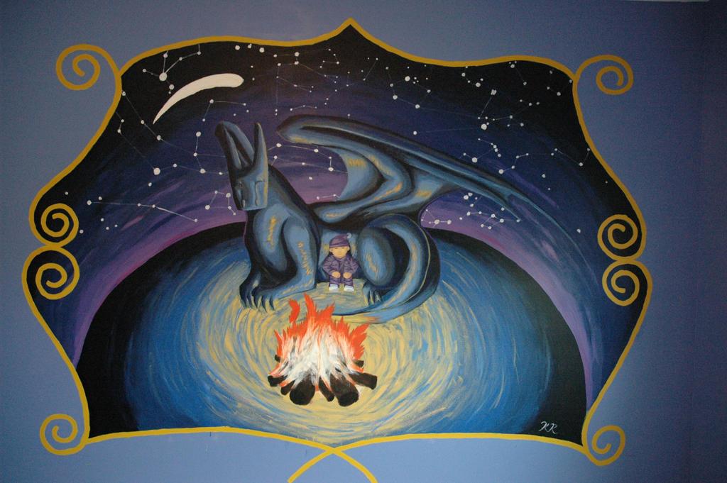 Dragon mural by toasthaste on deviantart for Dragon mural wallpaper